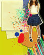 Girl With Fashion Skirt.Grunge Illustration With Papers Background And Colors Pencils For Text stock image