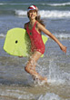 Girl Having Fun at the Beach stock image