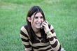 Laugh Girl on Cell Phone stock photography