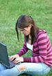Research Girl working on Laptop in Grass stock image