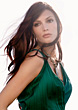 Face Glamour Portrait Of Brunette Woman In Green Dress stock photo