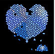 Glass Blue Heart Made Of Precious Stones With Glittering Shards Of Broken