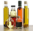 Transparent Glass Bottles Of Olive Oil,Salad Dressing And Vinegar stock image
