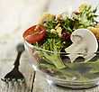 Glass Bowl Of Fresh Vegetable Salad,Close Up stock image