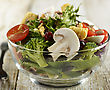 Glass Bowl Of Fresh Vegetable Salad,Close Up stock photography