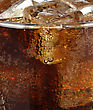 Glass Of Cola With Ice Cubes ,Close Up stock photography