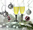 Glasses Of Champagne With Christmas Decorations stock photography