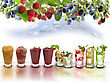 Glasses Of Colorful Fruit Drinks stock image