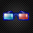 Glasses For Watching Movies Isolated On Dark Perforated Backround