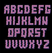 Glitched Colored Alphabet Isolated On Black Background. Trendy Style Distorted Lettering Typeface. Grunge Design Of Font