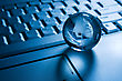 Internet Concepts Globalization Concept. Transparent Globe On A Laptop Keyboard stock image
