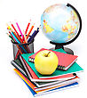 Globe, Notebook Stack And Pencils. Schoolchild And Student Studies Accessories. Back To School Concept stock photo