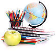 Globe, Notebook Stack And Pencils. Schoolchild And Student Studies Accessories. Back To School Concept