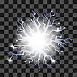Glowing Lightning Cracks For Disaster Design Isolated On Checkered Background