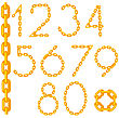 Gold Chain Number Collection Isolated On White Background