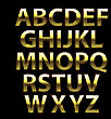 Gold Grunge Alphabet. Capital Yellow Metal Letters Isolated On Black Background