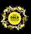 Gold Sparkles On Black Backround. Vector Illustration stock illustration