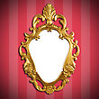 Gold Vintage Metal Frame On Wall stock photo