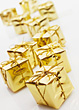 Gold Wrapped Christmas Presents stock image