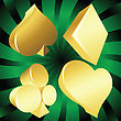 Golden Casino Suits Over Green Background