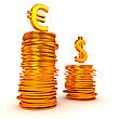 Golden Euro And Dollar Symbols Over Coins Stacks. Over White