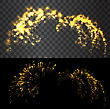 Golden Firework Explodes On Black Sky And Transparent Background - Vector Illustration