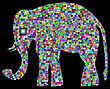 Golden Framed Elephants Mosaic In Light Rays