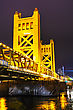 Famousplace Golden Gates Drawbridge In Sacramento At The Night Time stock photo