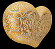 Golden Heart Inlaid With Diamonds Over Black Background