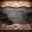 Golden Ornament On Wood Made In 3D stock illustration