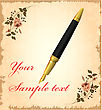 Golden Pen Over Vintage Background