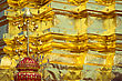 Golden Wall In Buddhist Temple, Wat Doi Suthep, Chiang Mai, Thailand stock photo