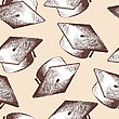 Graduation Cap Seamless Doodle Pattern. EPS 10 Vector Illustration Without Transparency