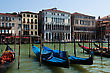 Gondolier Grand Canal Of Venice With Gondolas, Italy stock image