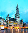 Belgian Grand Place With The City Hall In Brussels, Belgium stock image