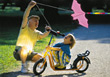 Grandfather Flying Kite with Grandson stock photo