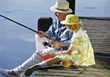 Grandfather Going Fishing with Granddaughter stock photography