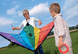 Grandmother Flying Kite With Grandson stock photo