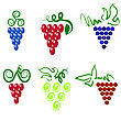 Grapes Isolated. Grapes Icon. Grapes Logo Design. Nature Grapes Logotype. Vine Logo Icon. Fruits And Vegetables Icons. Grapes Icons. Grapes Vine. Grapes With Green Leaf Isolated. Silhouettes Of Grapes stock illustration