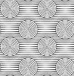 Gray Seamless Geometrical Pattern. Simple Monochrome Texture.Slim Gray Offset Circles On Stripes Alternating