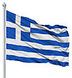 Ensign Greece National Flag Waving In The Wind stock image