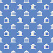 Greek Temple Icon Seamless Pattern On Blue Background