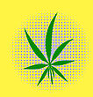 Green Cannabis Leaves Dotted Background. Marijuana Halftone Pattern