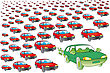 Green Car Green Hybrid Or Electric Cars Surrounded By Several Polluting Petrol Or Diesel stock illustration