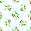 Green Cartoon Tree Leaves Seamless Background. Summer Plant Pattern