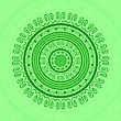 Green Circle Lace Ornament, Round Ornamental Geometric Doily Pattern, Christmas Snowflake Decoration