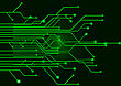 Processor Green Circuit Board On A Black Background stock photo