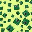 Green Circuit Board Seamless Pattern Isolated On Yellow Background. Part Of Computer