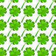 Green Clover Leaf Seamless In Low Poly Style. Vector Shamrock Illustration
