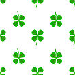 Green Clover Seamless Pattern On White. Shamrock Background